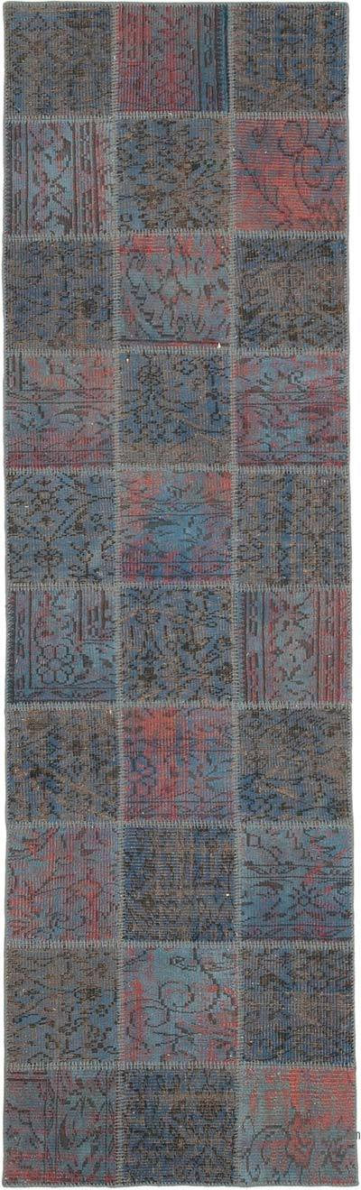 """Blue Patchwork Hand-Knotted Turkish Runner - 2' 11"""" x 9' 9"""" (35 in. x 117 in.)"""