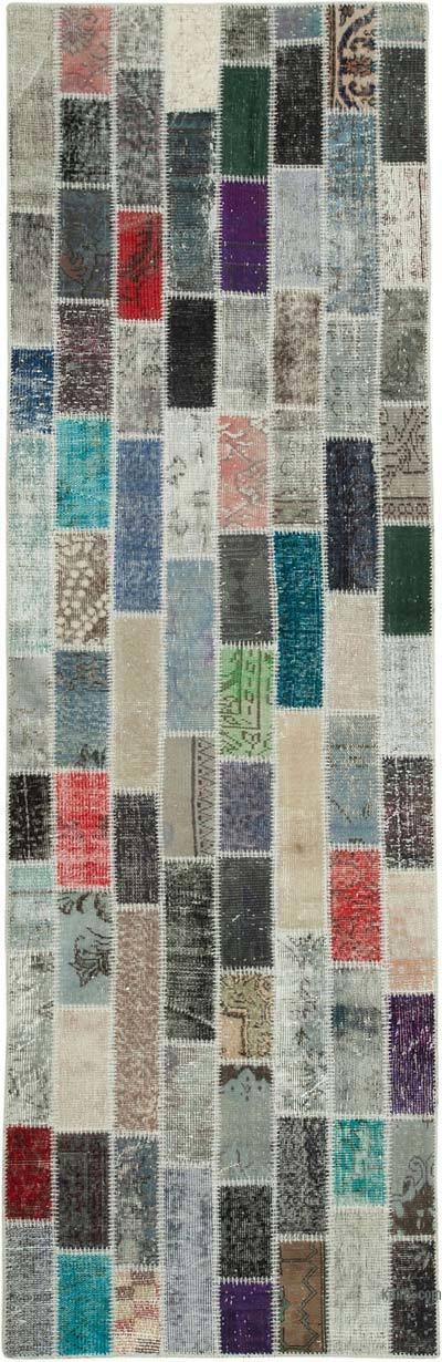 Multicolor Alfombra De Retazos Turca Sobre-teñida - 95 cm x 301 cm