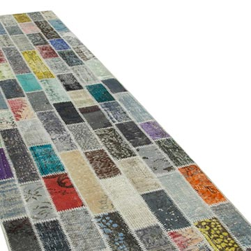 Çok Renkli Boyalı Patchwork Halı - 96 cm x 330 cm - K0053971