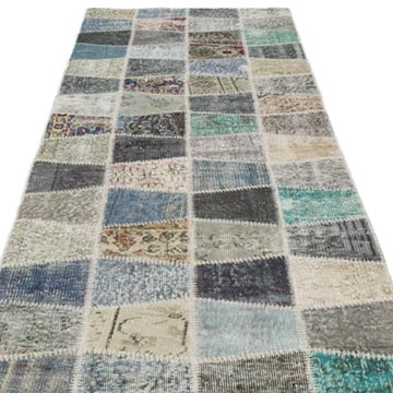 """Multicolor Patchwork Hand-Knotted Turkish Runner - 2' 11"""" x 10' 1"""" (35 in. x 121 in.) - K0053973"""