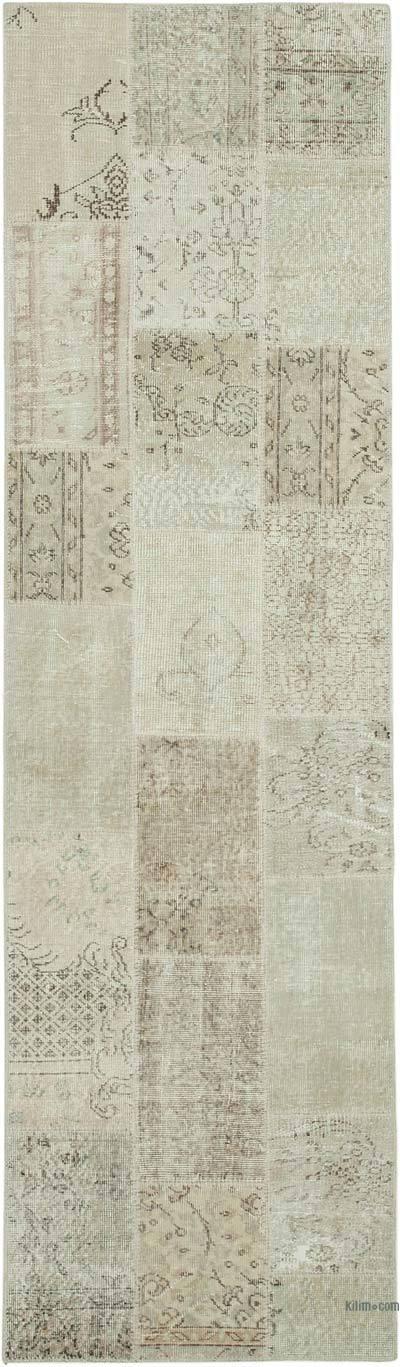 Bej Boyalı Patchwork Halı - 86 cm x 300 cm