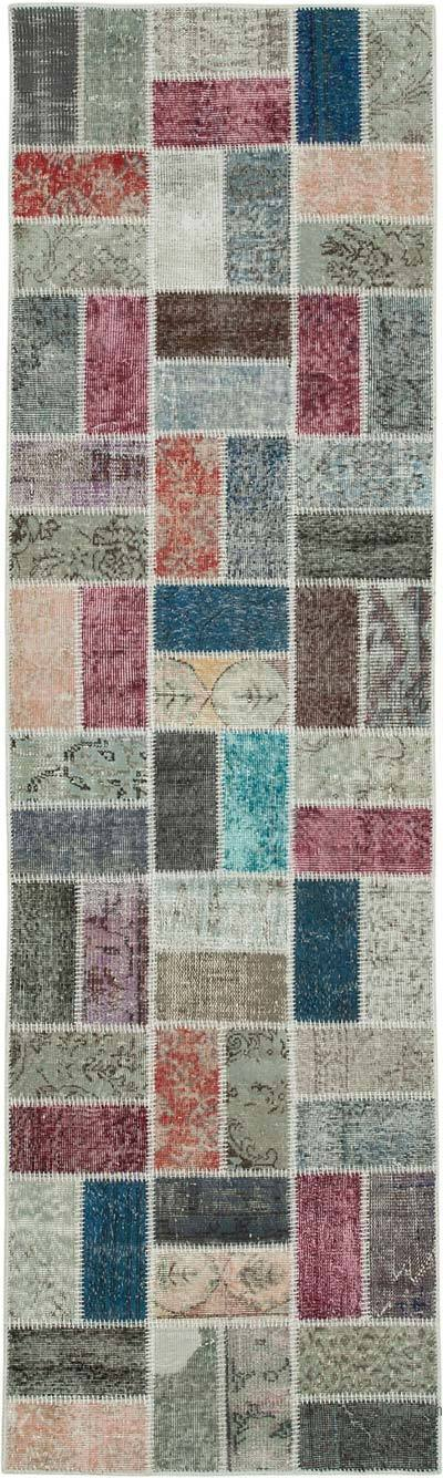 """Multicolor Patchwork Hand-Knotted Turkish Runner - 2' 11"""" x 9' 9"""" (35 in. x 117 in.)"""