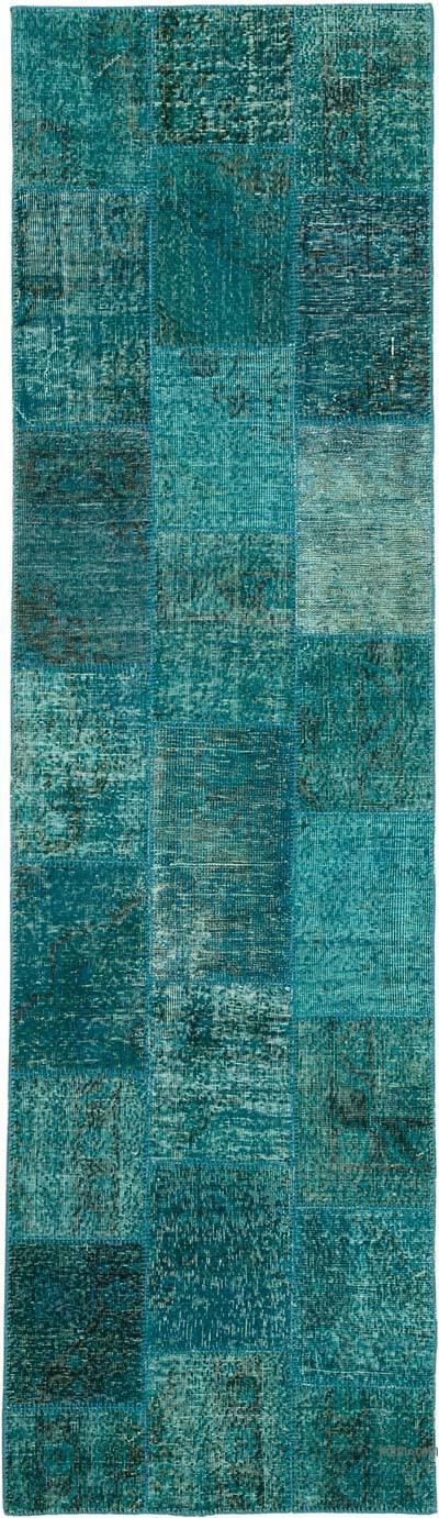 """Aqua Patchwork Hand-Knotted Turkish Runner - 2' 10"""" x 9' 11"""" (34 in. x 119 in.)"""