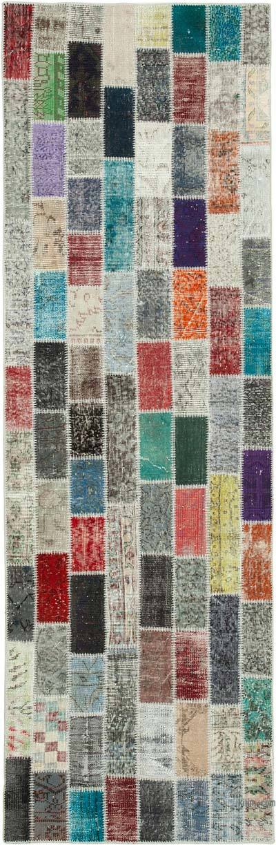 "Multicolor Patchwork Hand-Knotted Turkish Runner - 3' 3"" x 10' 1"" (39 in. x 121 in.)"