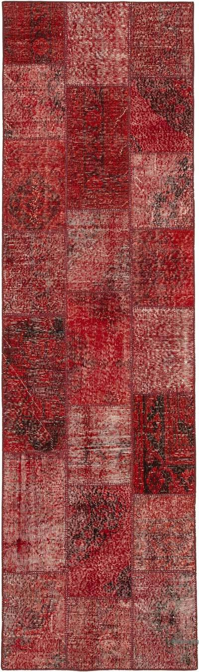 """Red Patchwork Hand-Knotted Turkish Runner - 2' 10"""" x 9' 9"""" (34 in. x 117 in.)"""