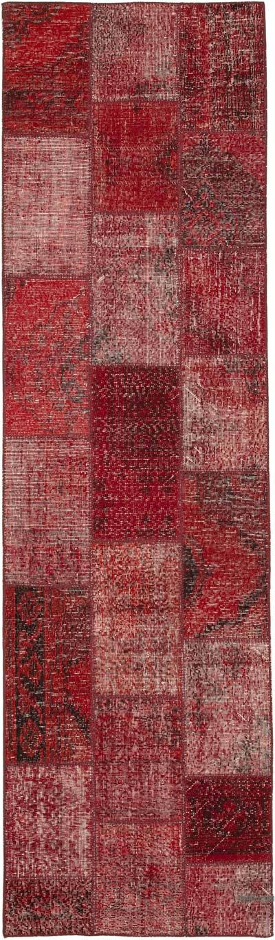"""Red Patchwork Hand-Knotted Turkish Runner - 2' 10"""" x 9' 11"""" (34 in. x 119 in.)"""