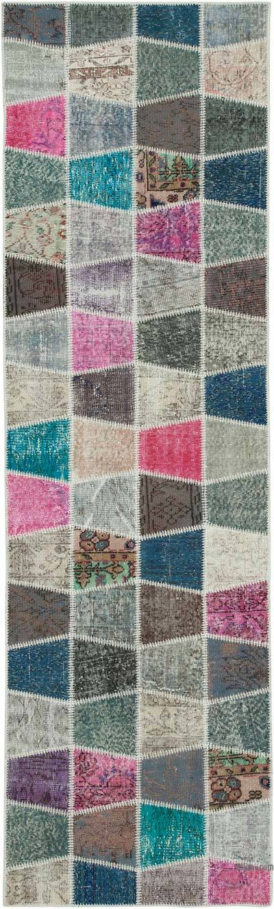 """Multicolor Patchwork Hand-Knotted Turkish Runner - 2' 11"""" x 10'  (35 in. x 120 in.)"""
