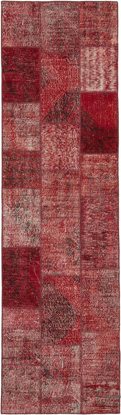 "Red Patchwork Hand-Knotted Turkish Runner - 2' 10"" x 9' 11"" (34 in. x 119 in.)"