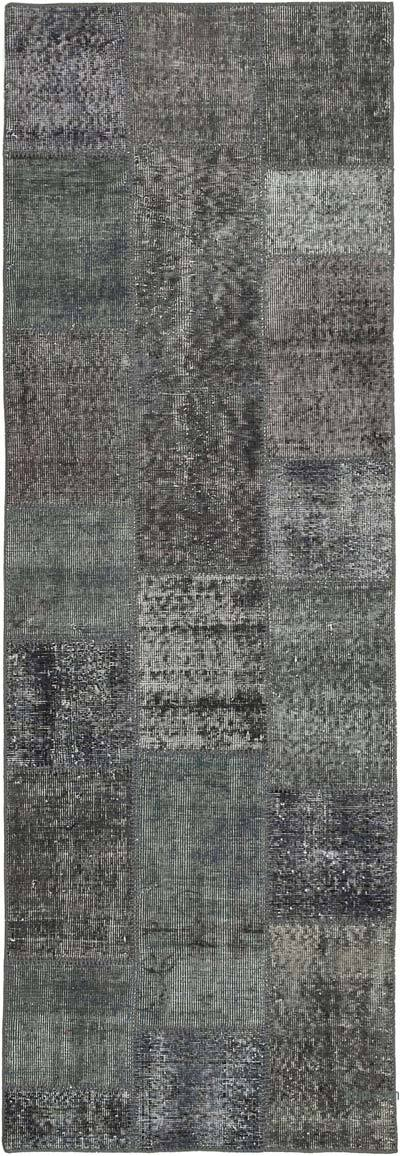"""Grey Patchwork Hand-Knotted Turkish Runner - 2' 9"""" x 8' 2"""" (33 in. x 98 in.)"""