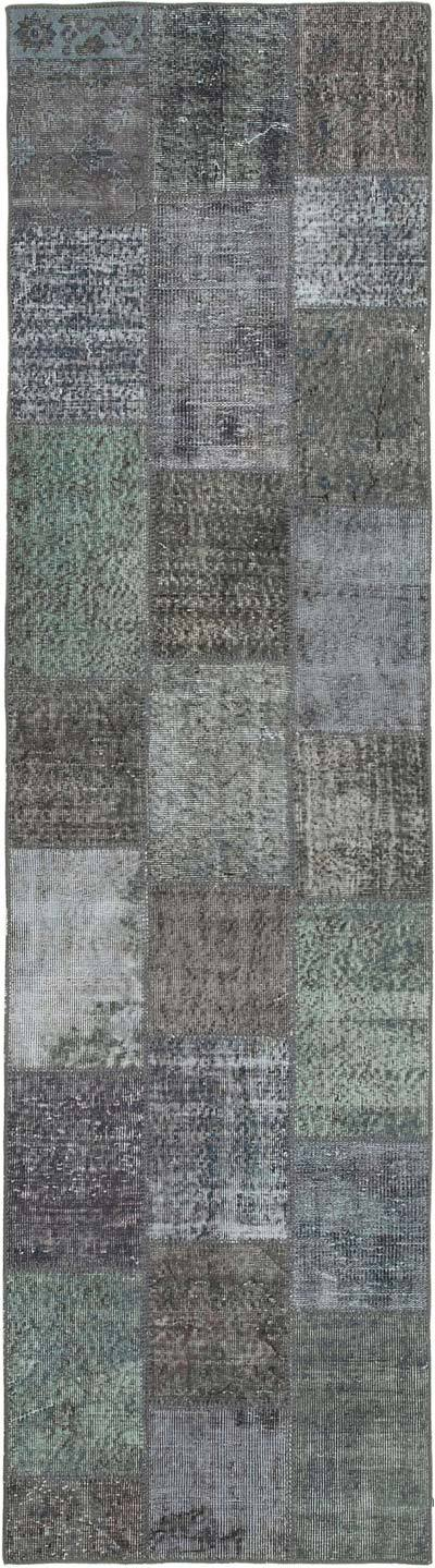 """Grey Patchwork Hand-Knotted Turkish Runner - 2' 9"""" x 10' 1"""" (33 in. x 121 in.)"""