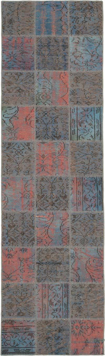 """Blue Patchwork Hand-Knotted Turkish Runner - 2' 11"""" x 9' 10"""" (35 in. x 118 in.)"""