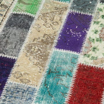"""Multicolor Patchwork Hand-Knotted Turkish Runner - 3' 2"""" x 8' 10"""" (38 in. x 106 in.) - K0053991"""