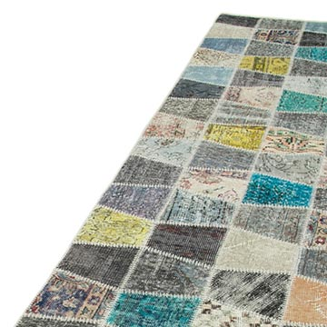 """Multicolor Patchwork Hand-Knotted Turkish Runner - 2' 11"""" x 10' 1"""" (35 in. x 121 in.) - K0053992"""
