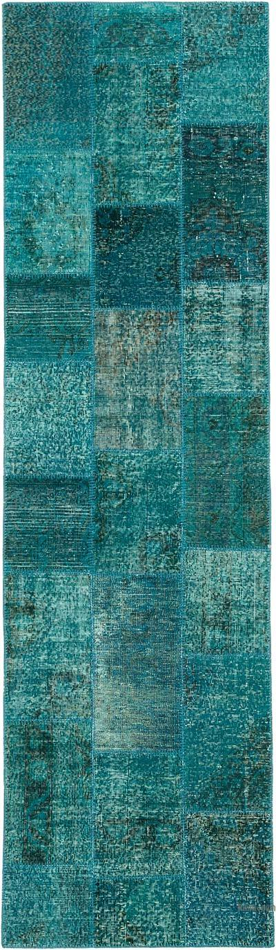 Turquesa Alfombra De Retazos Turca Sobre-teñida - 86 cm x 300 cm