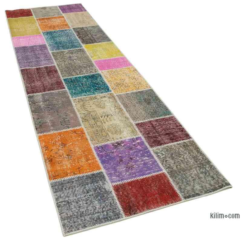Çok Renkli Boyalı Patchwork Halı - 91 cm x 300 cm - K0053996