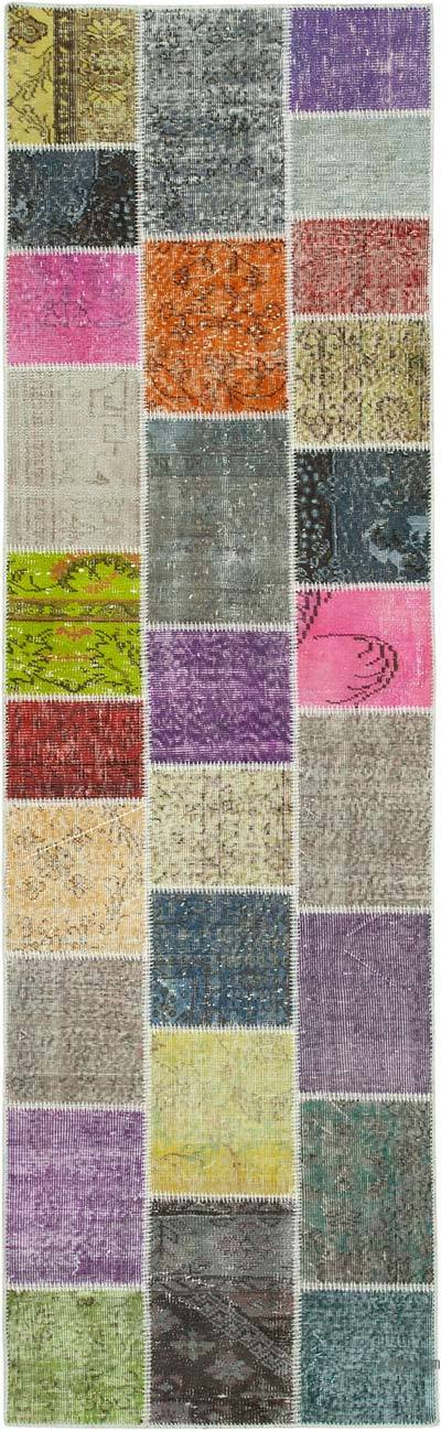 """Multicolor Patchwork Hand-Knotted Turkish Runner - 3'  x 9' 10"""" (36 in. x 118 in.)"""