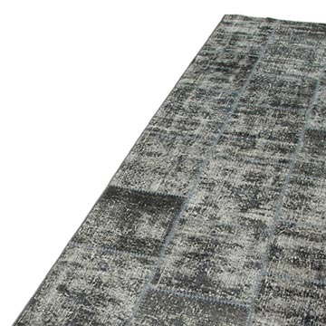 """Grey Patchwork Hand-Knotted Turkish Runner - 2' 9"""" x 10'  (33 in. x 120 in.) - K0053999"""