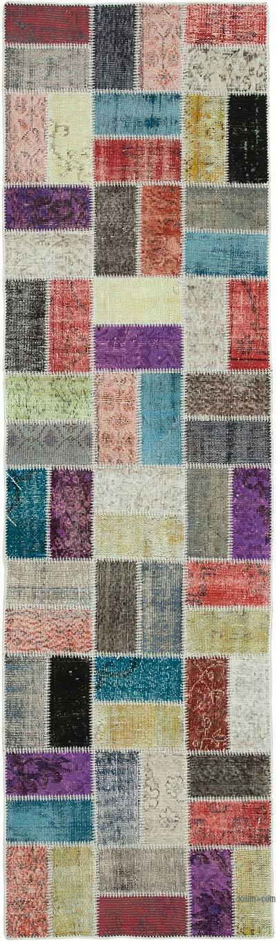 """Multicolor Patchwork Hand-Knotted Turkish Runner - 2' 9"""" x 9' 9"""" (33 in. x 117 in.)"""