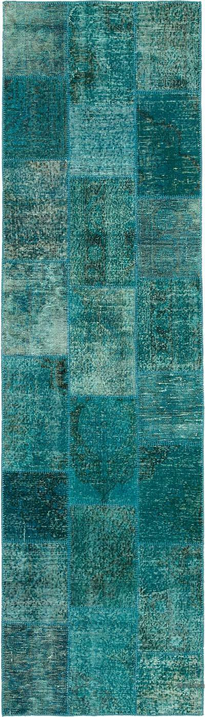 "Aqua Patchwork Hand-Knotted Turkish Runner - 2' 9"" x 9' 11"" (33 in. x 119 in.)"