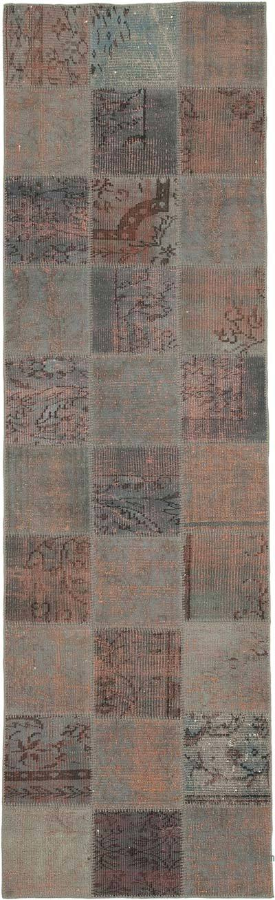 """Grey Patchwork Hand-Knotted Turkish Runner - 2' 11"""" x 9' 8"""" (35 in. x 116 in.)"""