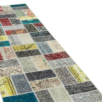 """Multicolor Patchwork Hand-Knotted Turkish Runner - 2' 9"""" x 9' 8"""" (33 in. x 116 in.) - K0054010"""