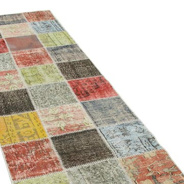 """Multicolor Patchwork Hand-Knotted Turkish Runner - 2' 9"""" x 9' 8"""" (33 in. x 116 in.) - K0054011"""