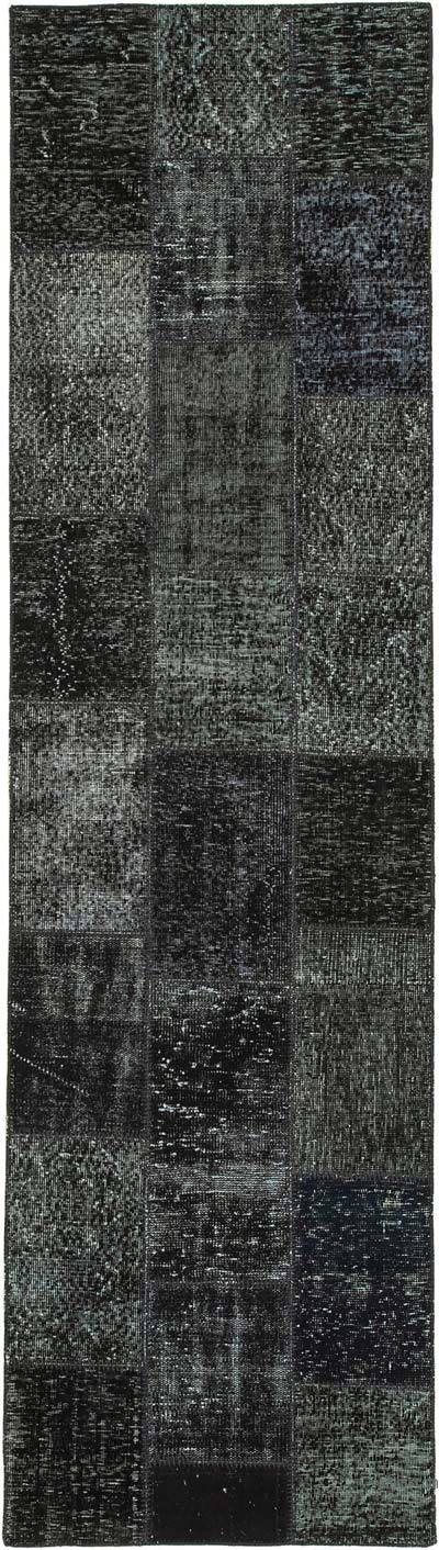 """Black Patchwork Hand-Knotted Turkish Runner - 2' 10"""" x 10' 2"""" (34 in. x 122 in.)"""