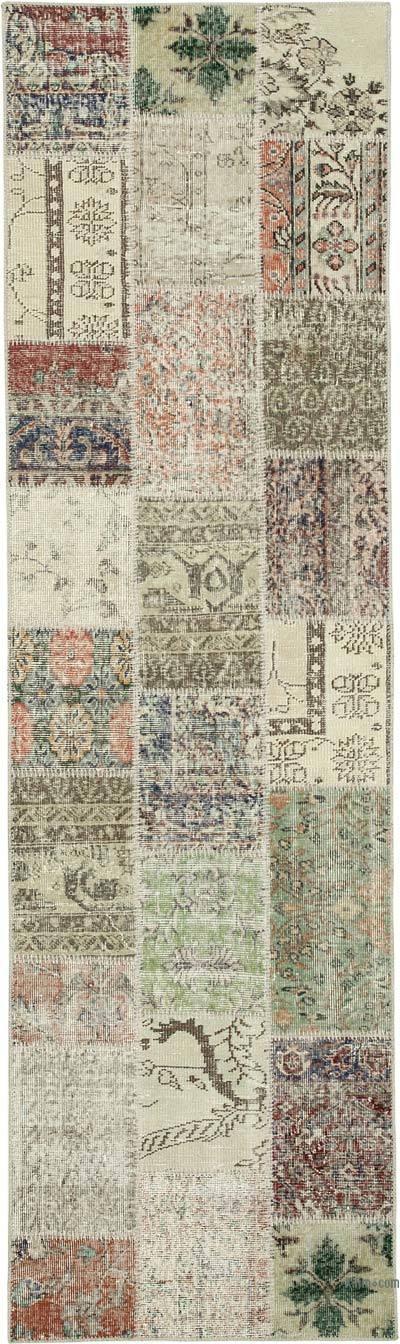 Multicolor Alfombra De Retazos Turca Sobre-teñida - 85 cm x 300 cm