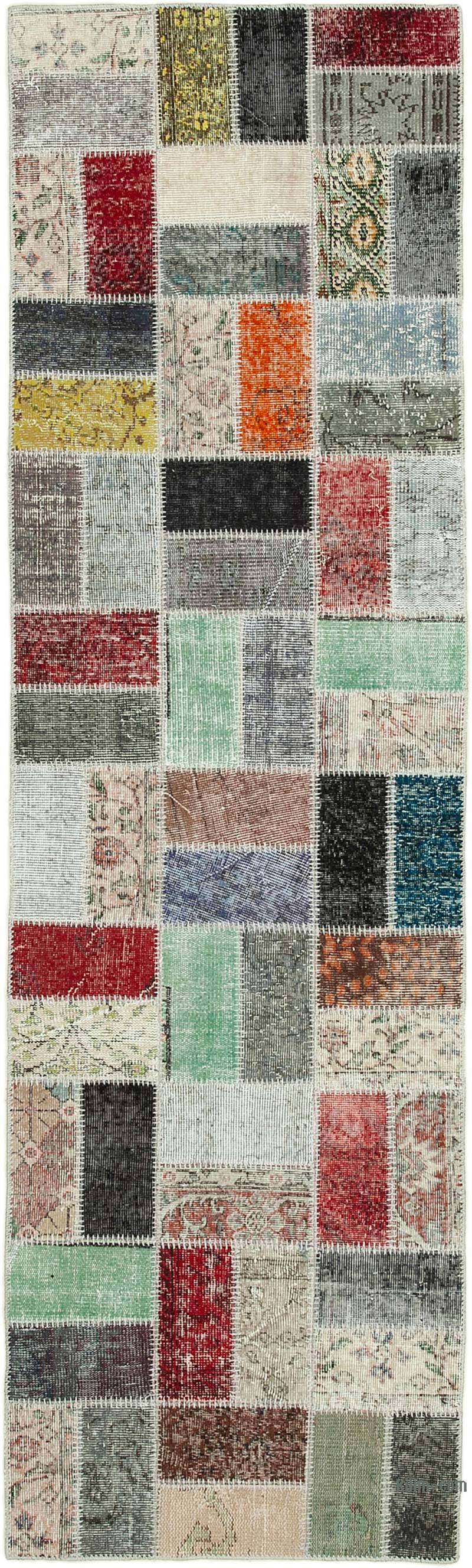 """Multicolor Patchwork Hand-Knotted Turkish Runner - 2' 10"""" x 9' 7"""" (34 in. x 115 in.) - K0054018"""