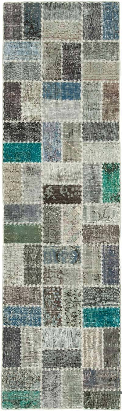 """Multicolor Patchwork Hand-Knotted Turkish Runner - 2' 9"""" x 9' 7"""" (33 in. x 115 in.)"""