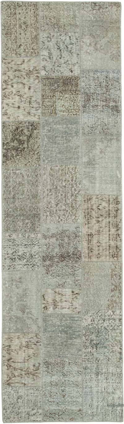 """Grey Patchwork Hand-Knotted Turkish Runner - 2' 9"""" x 10'  (33 in. x 120 in.)"""