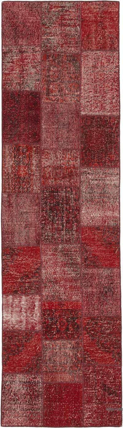 "Red Patchwork Hand-Knotted Turkish Runner - 2' 10"" x 10'  (34 in. x 120 in.)"
