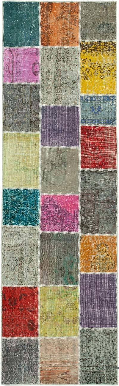 """Multicolor Patchwork Hand-Knotted Turkish Runner - 3'  x 9' 11"""" (36 in. x 119 in.)"""