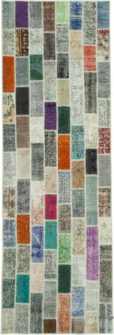 """Multicolor Patchwork Hand-Knotted Turkish Runner - 3' 3"""" x 9' 9"""" (39 in. x 117 in.)"""