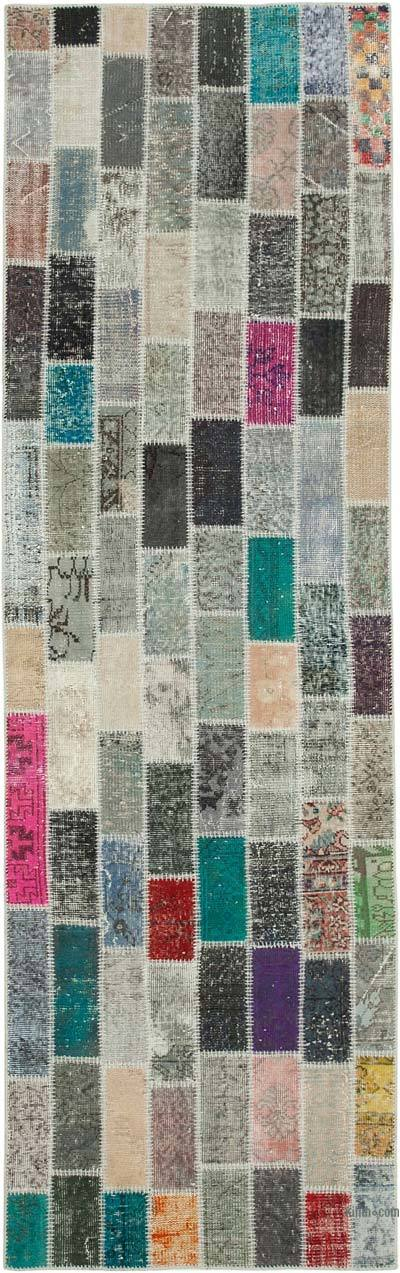"""Multicolor Patchwork Hand-Knotted Turkish Runner - 3' 1"""" x 10' 1"""" (37 in. x 121 in.)"""
