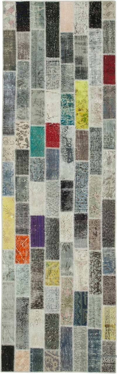 """Multicolor Patchwork Hand-Knotted Turkish Runner - 3' 1"""" x 9' 11"""" (37 in. x 119 in.)"""