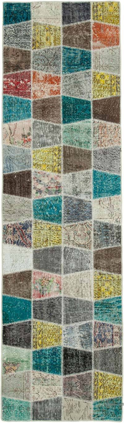 """Multicolor Patchwork Hand-Knotted Turkish Runner - 2' 11"""" x 10' 2"""" (35 in. x 122 in.)"""
