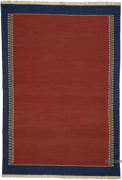 "Red New Handwoven Turkish Kilim Rug - 6' 1"" x 8' 9"" (73 in. x 105 in.)"