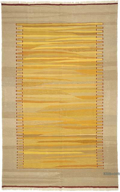 "Yellow New Handwoven Turkish Kilim Rug - 6' 10"" x 10' 9"" (82 in. x 129 in.)"