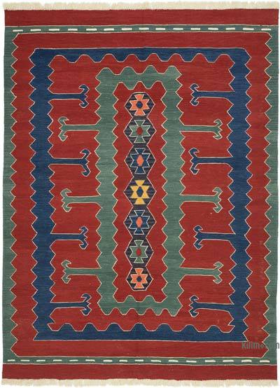"Red New Handwoven Turkish Kilim Rug - 6' 3"" x 8' 3"" (75 in. x 99 in.)"