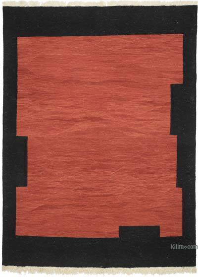 "Red, Black New Handwoven Turkish Kilim Rug - 6' 3"" x 8' 2"" (75 in. x 98 in.)"