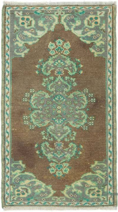 """Vintage Turkish Hand-Knotted Rug - 1' 8"""" x 3'  (20 in. x 36 in.)"""