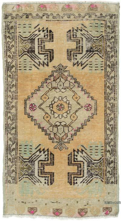 """Vintage Turkish Hand-knotted Rug - 1' 9"""" x 3' 2"""" (21 in. x 38 in.)"""