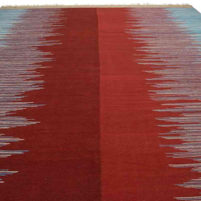 Kırmızı, Mavi Yeni Kök Boya El Dokuma Kilim - K0054127
