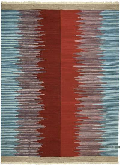 "Red, Blue New Handwoven Turkish Kilim Rug - 9' 11"" x 13' 4"" (119 in. x 160 in.)"