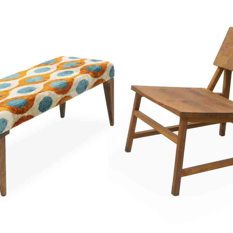 Bench Upholstered with Silk Velvet Ikat Fabric - K0054208