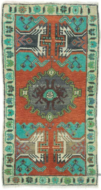 """Vintage Turkish Hand-Knotted Rug - 1' 7"""" x 3'  (19 in. x 36 in.)"""