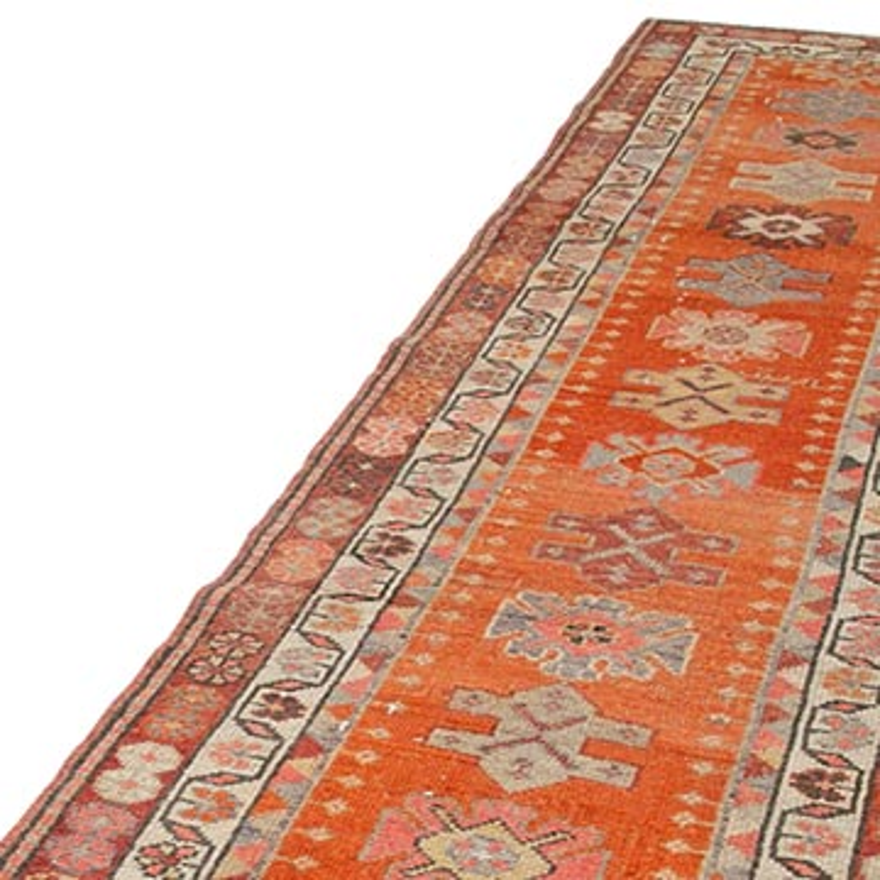 "Vintage Turkish Runner Rug - 3' 1"" x 12'  (37 in. x 144 in.) - K0054303"