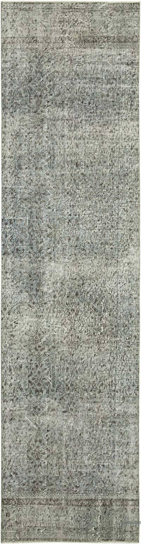 Lacivert Boyalı El Dokuma Vintage Halı Yolluk - 80 cm x 299 cm