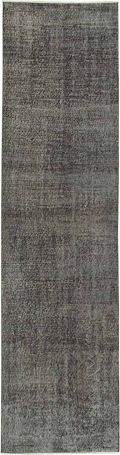 "Black Over-dyed Turkish Vintage Runner Rug - 2' 8"" x 10' 1"" (32 in. x 121 in.)"